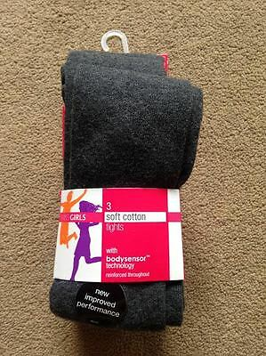 BNIP M&S 3 Pack Girls Grey School Tights 5-6 Years