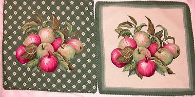 """EP 1300/3 PAIR of COMPLETED Apple Needlepoint Pillows 20""""x20"""""""