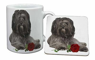 Tibetan Terrier with Red Rose Mug+Coaster Christmas/Birthday Gift Ide, AD-TT2RMC