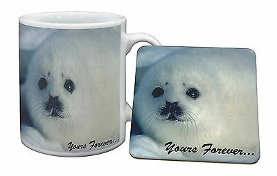 Snow Seal 'Yours Forever' Mug+Coaster Christmas/Birthday Gift Idea, AF-S14MC