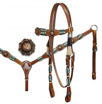 Showman Headstall & BreastCollar Set W/ Rawhide Accents & Antique Style Conchos!