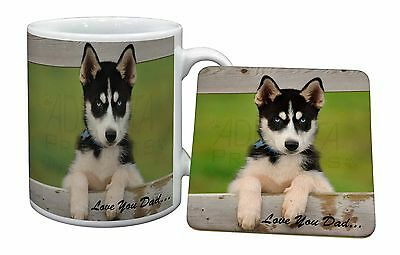 Husky Pup 'Love You Dad' Mug+Coaster Christmas/Birthday Gift Idea, DAD-56MC