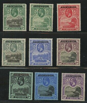 Ascension 1922 KGV Ovpt issue Sc #1-9, SG #1-9 VF mhr