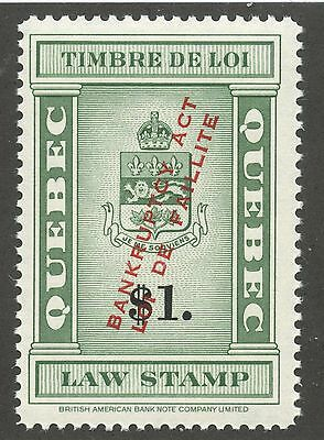 Canada Revenue 1923 Quebec Law Bankruptcy Protection $1.00 Ovpt #QL119 VF MNH
