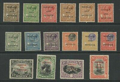 Malta 1928 KGV issue 'POSTAGE & REVENUE' low values Sc #148-163 mlh