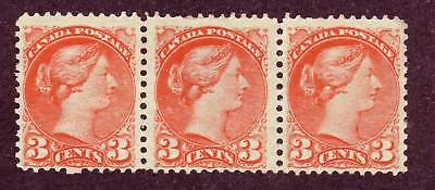 Canada 1888 Small Queen 3c strip of 3 #41 mng