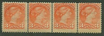 Canada 1888 Small Queen 3c Strip of 4 #41 mnh OG