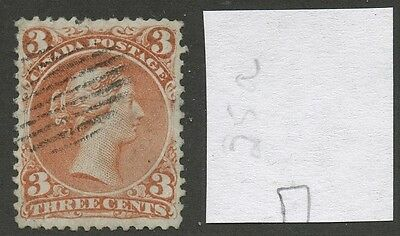 Canada 1868 Large Queen 3c Bothwell Paper Watermarked #25a VF used