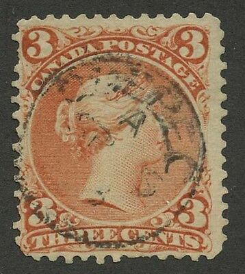 Canada 1868 Large Queen 3c red #25 used partial CDS