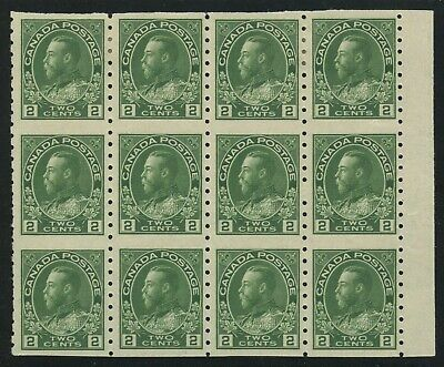 Canada 1924 KGV Admiral 2c Part Perf Blk of 12 #128a VF MNH/LH