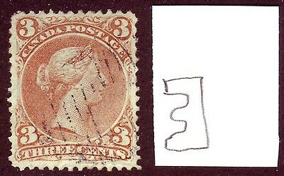 Canada 1868 Large Queen 3c Bothwell Watermarked #25a VF