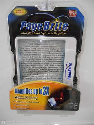 Page Brite LED Lighted 3x Book Magazine Newspaper Magnifier  # 03352