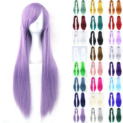 80cm Fashion Full Wig Long Straight Wig Party Costume Anime Hair Cosplay