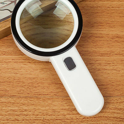105mm Hand Held 20x Magnifying Glass Lens Magnifier Loupe 12 LED Light Xmas Gift