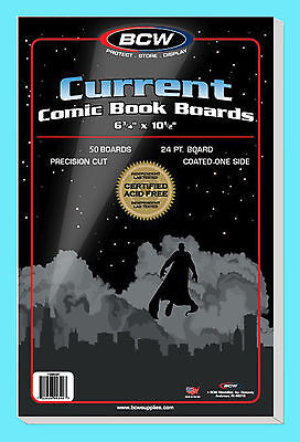 50 BCW CURRENT SIZE COMIC BOOK BACKING BOARDS Modern Storage White Acid Free
