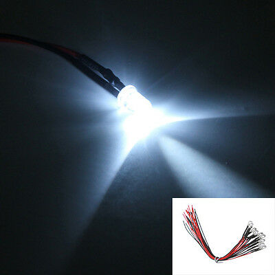 10PC Universal Wired 5mm White LED Light Lamp Bulb Diode 20cm Prewired DC 12V