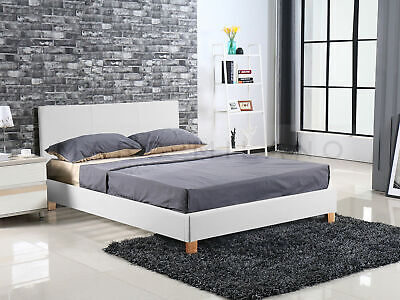 New Double Queen Size Luxury Milan Bed Frame Black/White Leather PU Grey Fabric