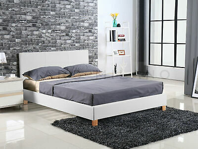 New Luxury Milan Double Queen Size Bed Frame Black/White Leather PU Grey Fabric