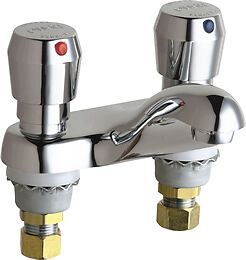 "Chicago Faucets 802-665ABCP - 4"" Deck Mount Push Handle Metering Faucet"