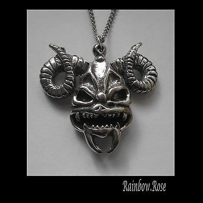 Pewter Necklace on Chain #1500 RAM DEMON SKULL (39mm x 35mm) GOTH