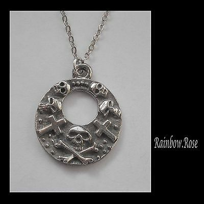 Pewter Necklace on Chain #1536 SKULL & CROSSES (24mm x 20mm) X BONES