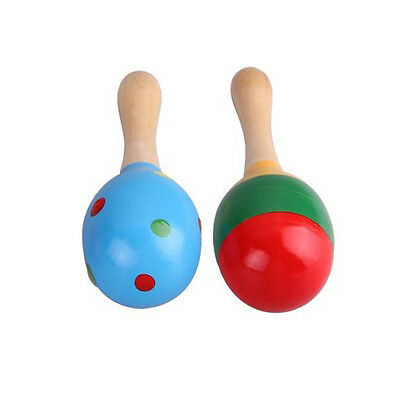 5X(2 Wooden Wood Maraca Rattles Shaker Percussion kid Baby Musical Toy HY