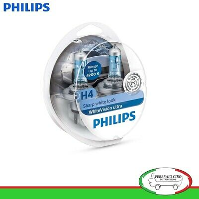 2 Lampade Philips H4 White Vision Ultra 4200K 12v 55/60 W Sharp White Look