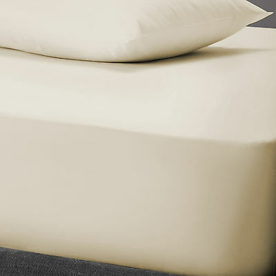 Essential Polycotton Fitted Sheet - Cream - Double