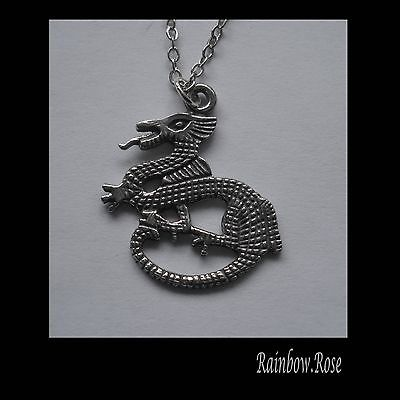 Chain Necklace #2286 Pewter DRAGON (23mm x 20mm)