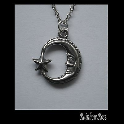 Chain Necklace #2310 Pewter MOON & STAR (19mm x 16mm)