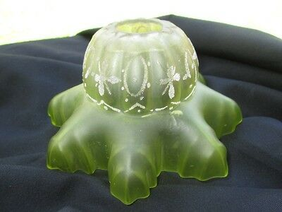 Antique Satin Glass Gas Light Shade Sugar Candy Glass Lime Green Stain