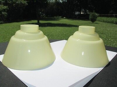 PAIR ANTIQUE CHANDELIER CLAM BROTH fused GLASS LIGHT SHADES CUP POT FIT STYLE