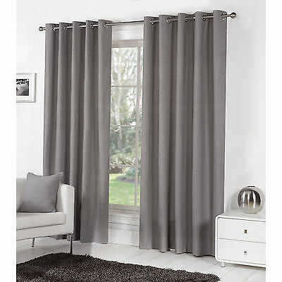 Modern Plain Eyelet Curtains - Ring Top Fully Lined Curtain Pair - Charcoal Grey