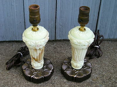 Antique Vintage Pair of Marblized Agate Glass Patterned Lamps~rewired working