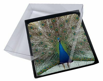 4x Rainbow Feathers Peacock Picture Table Coasters Set in Gift Box, AB-PE13C