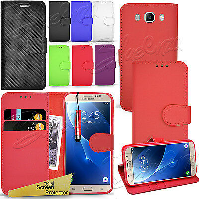 For SAMSUNG GALAXY J7 2016 - Wallet Leather Case Flip Cover + Screen Protector