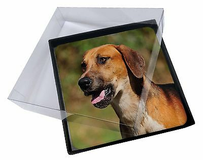 4x Foxhound Dog Picture Table Coasters Set in Gift Box, AD-FH1C