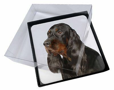 4x Gordon Setter Dog Picture Table Coasters Set in Gift Box, AD-GOR1C