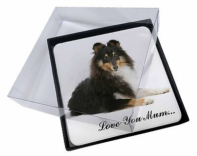 4x Sheltie Dog 'Love You Mum' Picture Table Coasters Set in Gift Box, AD-SE1lymC