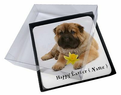 4x Personalised Name Shar-Pei Picture Table Coasters Set in Gift Box, AD-SH2DA2C