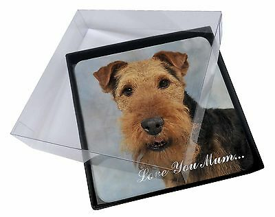4x Welsh Terrier Dog 'Love You Mum' Picture Table Coasters Set in Gi, AD-WT1lymC