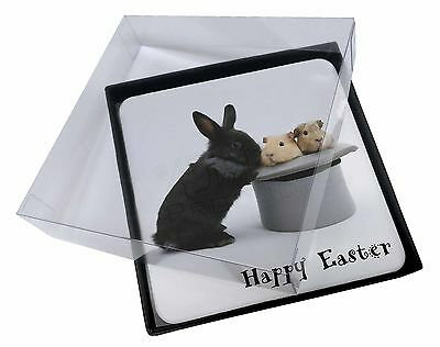 4x Rabbit, Guinea Pigs 'Happy Easter' Picture Table Coasters Set in Gi, AR-10EAC