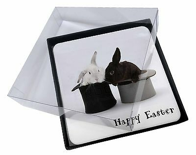 4x Top Hat Rabbits 'Happy Easter' Picture Table Coasters Set in Gift Bo, AR-7EAC