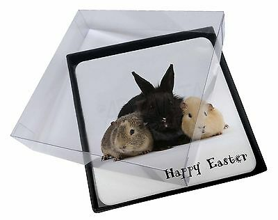 4x Rabbit with Guinea Pigs 'Happy Easter' Picture Table Coasters Set in, AR-9EAC