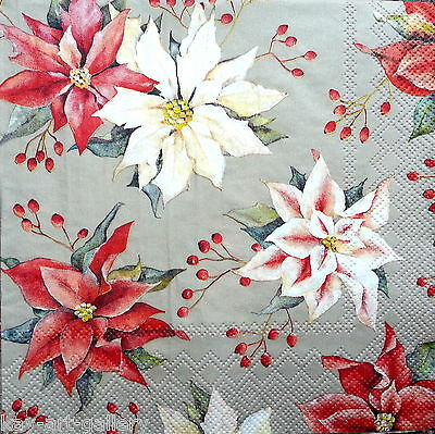 4 Vintage Table Paper Napkins for Party Lunch Decoupage Decopatch Christmas Mix