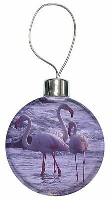 Pink Flamingo on Sea Shore Christmas Tree Bauble Decoration Gift, AB-52CB
