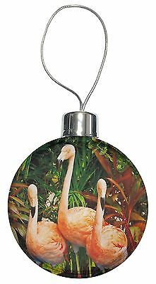 Pink Flamingo Print Christmas Tree Bauble Decoration Gift, AB-74CB