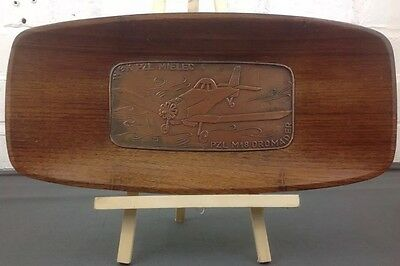 Vintage Wooden Tray Issued for Polish Aviation Society in 1974