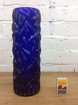 Vintage Tall Glass Flower Vase Made In Czechoslovakia Mid-Century Blue Glass