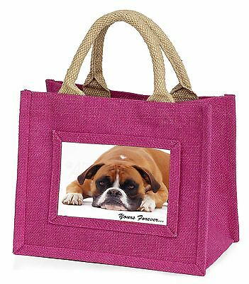 Boxer Dog 'Yours Forever' Little Girls Small Pink Shopping Bag Christ, AD-B28BMP